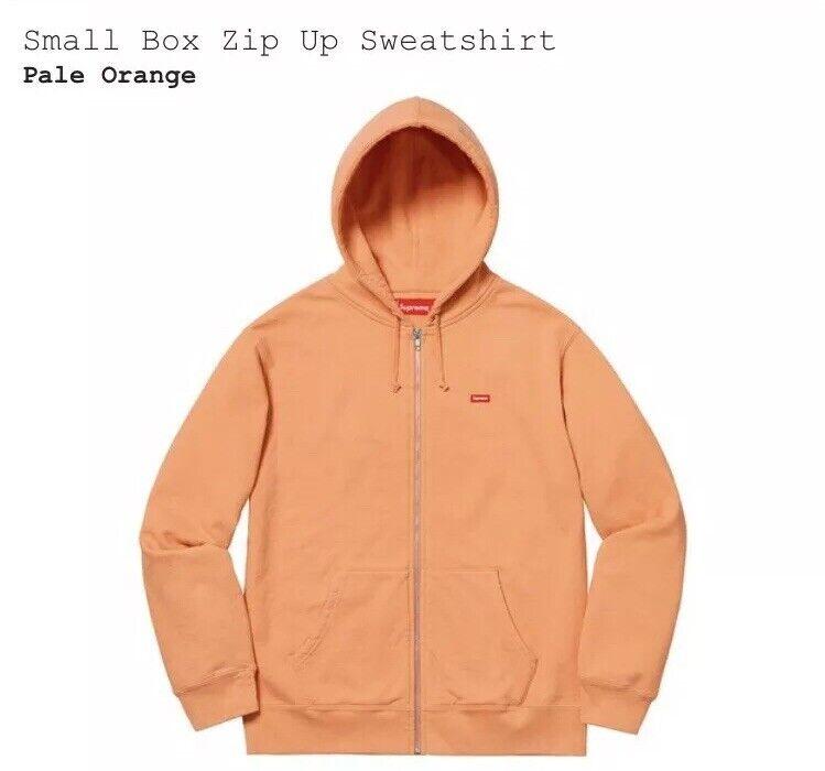 Supreme Small Box Logo Full Zip Up Pale Orange Sweatshirt Größe Medium SS19 bogo