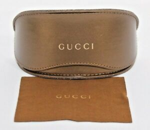 Gucci-Sunglasses-Case-Large-Gold-Clam-Shell-With-Cloth-Authentic-Fits-Most