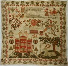 EARLY 19TH CENTURY RED HOUSE MOTIF & VERSE SAMPLER BY SARAH HINCHCLIFFE 1836