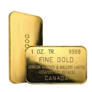 1-oz-Johnson-Matthey-amp-Mallory-Gold-Bar-9999-Fine