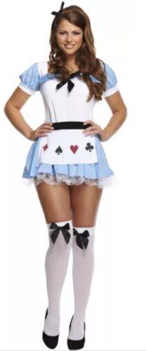 Women Alice In Wonderland Ladies Adult Fancy Dress Costume Fairytale Outfit Girl