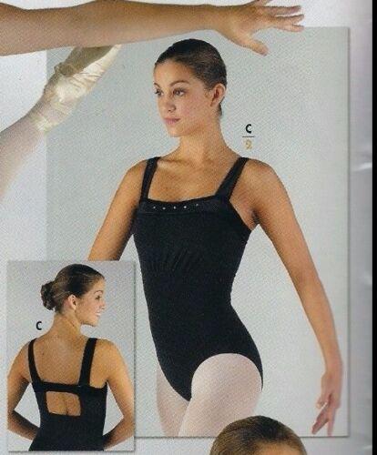 NWT Ballet Dance Cotton Leotard w// Black Velvet Rhinestone Trim Adult sizes85557