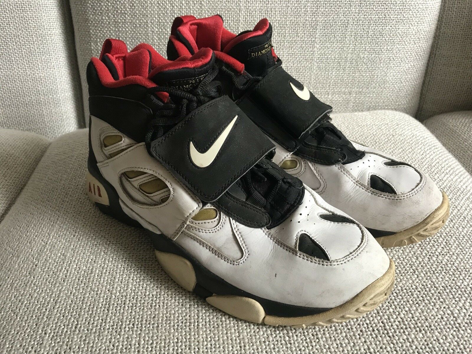 best website 99375 797ae Nike Air Diamond Turf II 2 2 2 Sz 13 487658-070 White Black ...