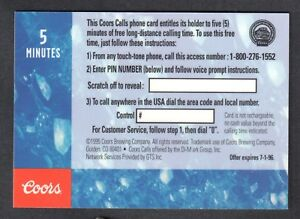 Details About Coors Brewing Trading Cards 1995 Rare Foil Phone Card Promo Blank Back No S