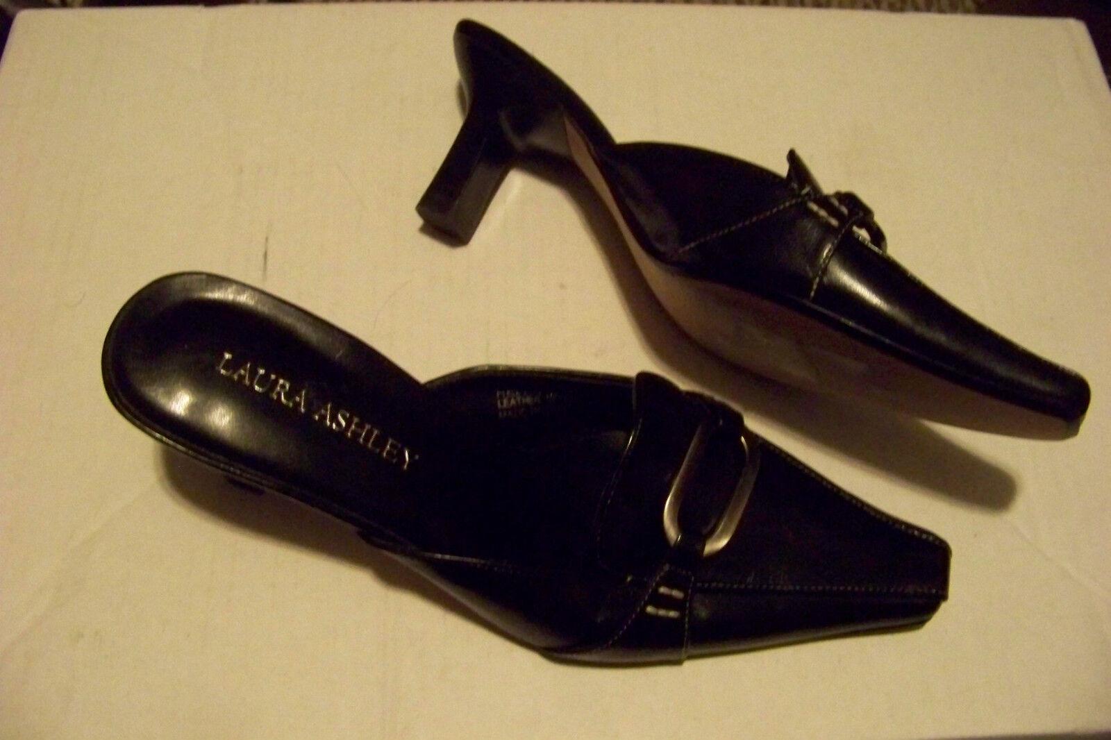 womens laura ahsley helena black toe leather slip on square toe black heels shoes size 6.5 4a9859