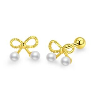 11a6c778b 14k gold gp 925 sterling silver stud pearl bow tie Screw back baby ...