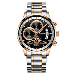 BELUSHI-Luxury-Men-039-s-Stainless-Steel-Chronograph-Date-Analog-Quartz-Strap-Watch