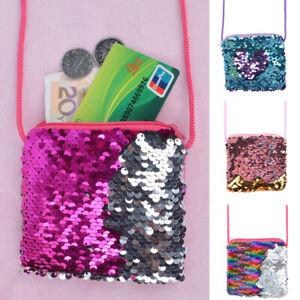 6d995b6f42eb Details about Kids Girls Glitter Cute Mermaid Sequins Zipper Coin Purse  Wallet Shoulder Bag UK