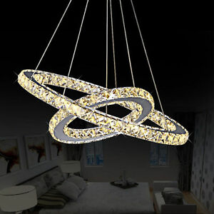 LED Crystal Oval Ring Pendant Light Chandelier Lamp Ceiling Fixture