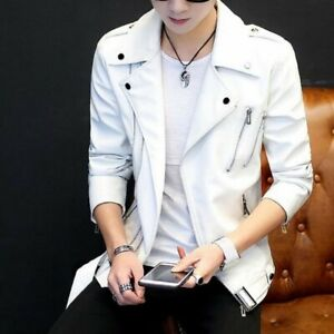 d6376cd8b24 Image is loading Fashion-Men-Coats-Leather-Zipper-Youth-Leisure-Motorcycle-