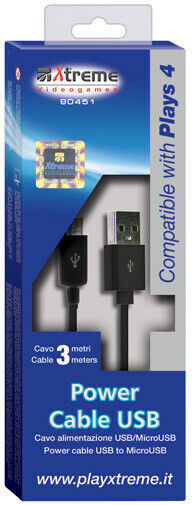 Power Cable USB 3 Mt.PS4 PLAYSTATION 4 90451 Xtreme Informatica