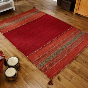 Kelim Striped Rugs Hand Woven Cotton Chenille Made In India Colour