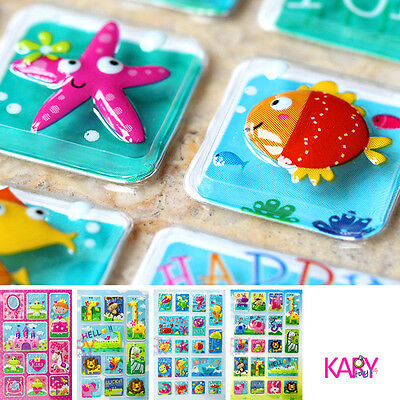 10Pcs Cartoon Animals Zoo 3D Stickers Childrens Girls Boys Pvc Stickers Kids G$