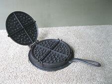 Antique Waffle Maker Primitive Cast Iron #9, Heart Squares & Diamonds Design
