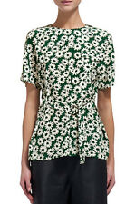 Gorgeous Whistles Silk Green Daisy Print Belted Tunic Blouse Top, Size UK 8
