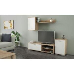 Dettagli su Kit Parete Attrezzata mobile tv e soggiorno basso con pensile  170X36X190H ro/bi