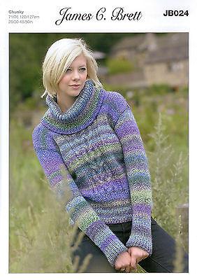 James C Brett Marble Chunky JB024 Knitting Pattern Ladies Sweater