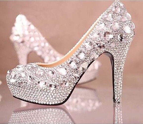 Crystal Glitter Diamond Rhinestone High Heel Wedding Party Dress Court Shoes New