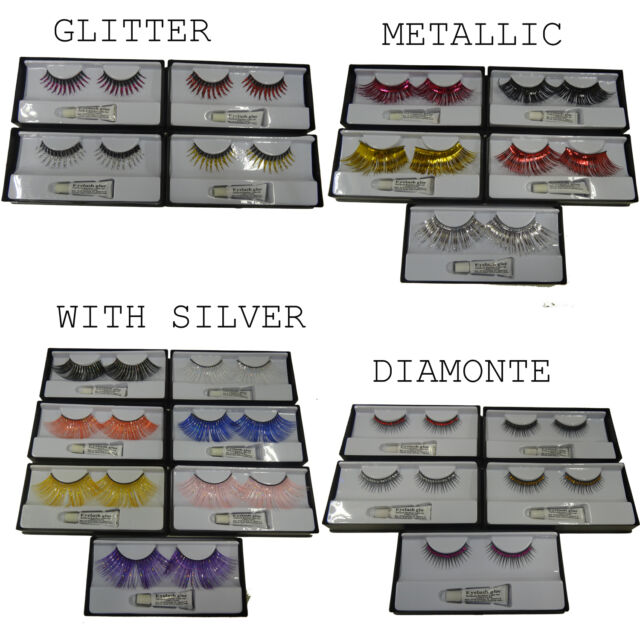 EYELASHES WITH ADHESIVE METALLIC GLITTER DIAMANTE AND COLOURED WITH SILVER