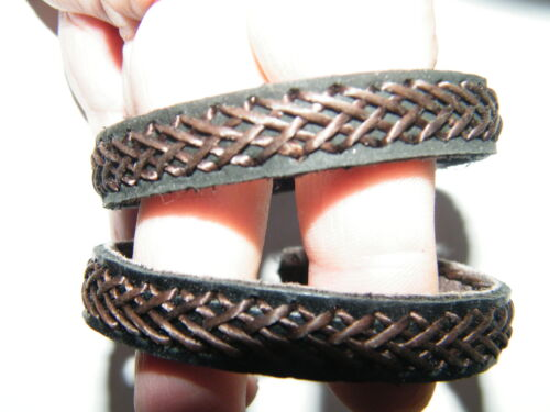 LEATHER Bracelet Genuine Black /& Brown Braided Cuff Adjustable Fits Most NEW!