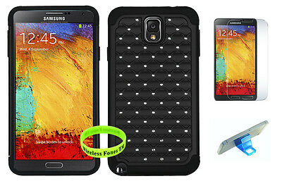 Black Studded Bling Case Cover on Black Gel for Samsung Galaxy Note 3 III N9000