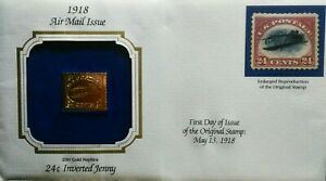 1918-US-First-day-Issue-22k-Gold-Replica-of-24c-Inverted-Jenny-Air-Mail-Stamp