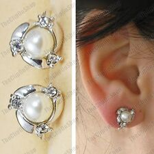 CLIP ON pearl crystal SMALL EARRINGS fake studs CLIPS silver rhinestone pearls