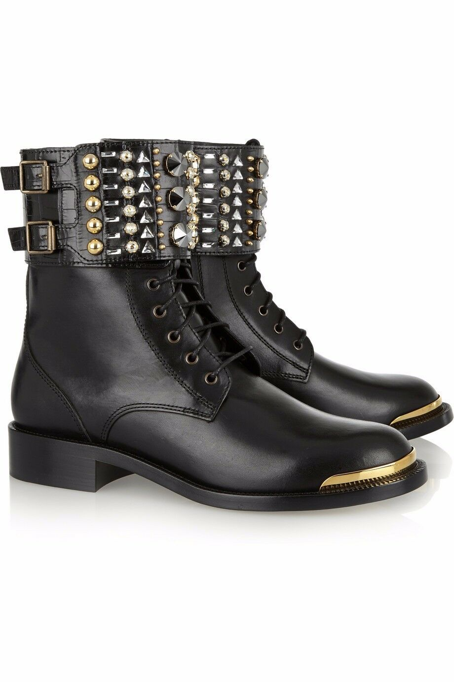 Fashion Women Round Toe Ankle Flat Boots Rhinestone Rivets & Retro Buckle Strap