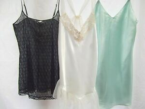 vtg-lot-3-short-nighties-night-gown-Victoria-039-s-secret-wht-grn-S-M-lace-beaded