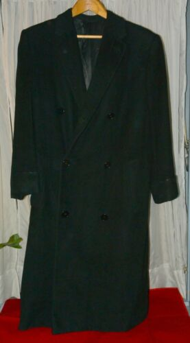 Vintage 40s Wool Double Breasted Black Topcoat