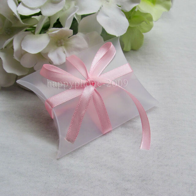 50pcs Clear Frosted Pillow Shaped Plastic PVC Boxes Wedding Party Favors