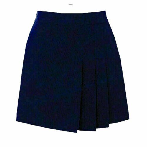 Girls Ladies Womens 3 Side Pleated Half Elasticated Waist Skirt School Uniform