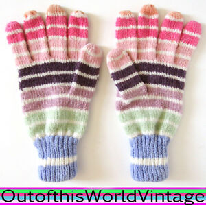 Vtg-70s-RAINBOW-STRIPE-CHENILLE-GLOVES-colorful-soft-warm-winter-CUTE-MULTICOLOR