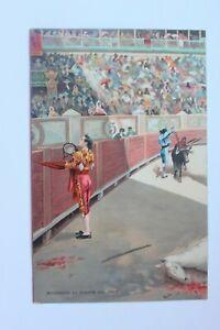 Postcard-Antique-Drawing-Of-Corida-Spanish-Brindando-La-Muerte-Del-Toro