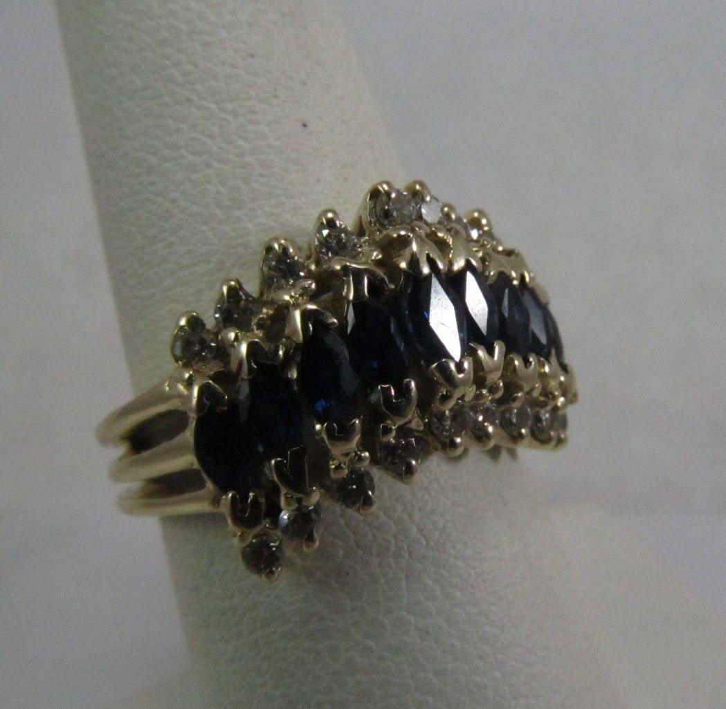 14K gold Designer A.V. Sapphire Diamond Ring  Size 6.5  SALE-SAVE 900.  r330