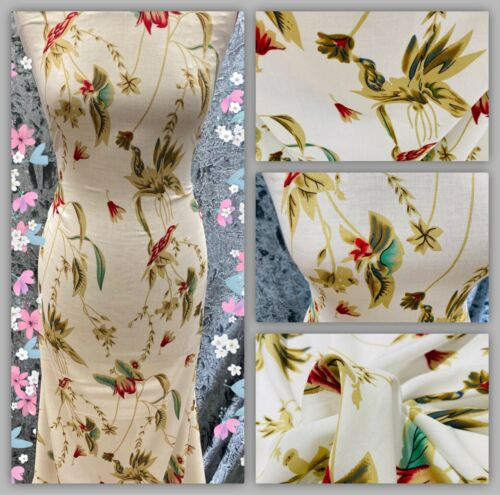 Soft Cotton Poly Viscose Floral Printed Dress Fabric Skirts Blouse Metre Price