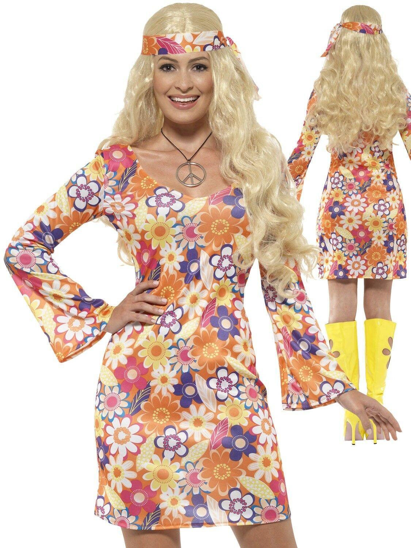 Ladies Flower Hippie Costume Adults 60s 70s Hippy Lady Fancy Dress Womens 8-18