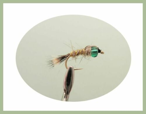 Hares Ear Nymph Fishing Flies Mix 10//12 Orange Green /& Red 12 Pack Hotheads