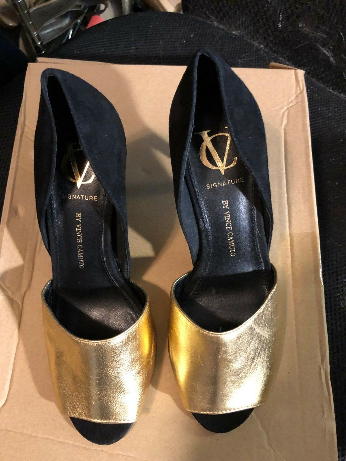 shoes, VINCE CAMUTO, Black suede gold leather open fronts, 3  heels, SZ  7M