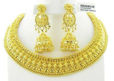 22ct Gold Necklace Set With Dangle Earrings Stunning Modern