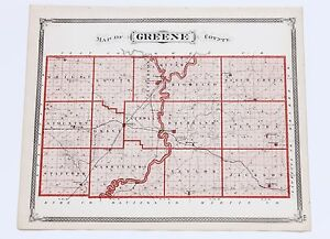 1876 Greene County Indiana Map Bloomfield Vincennes Plats Original