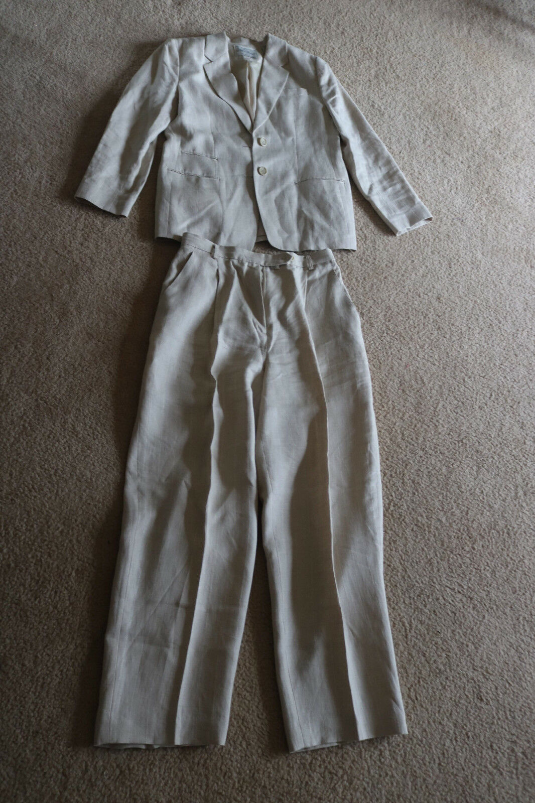Lord & Taylor Exclusively For You Women's Trouser Suit Beige 100% Linen Striped