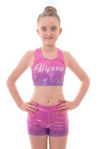 Personalised LYCRA Black Pink Dance Crop Top Shorts Gymnastics Glitter Birthday
