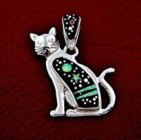 Calvin Begay Sterling Silver Night Sky Cat Pendant --- P94 B T