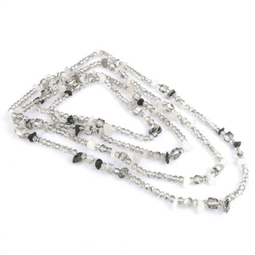 """Long Cristal /& pierres précieuses Collier 52/"""" à Facettes Cube Washer Perles Chip pierres"""