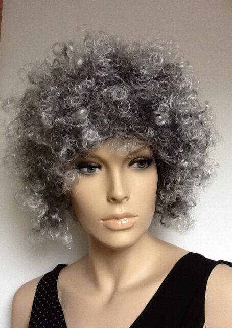 Women s Grey Afro Style Curly Fancy Dress Wig Female UK Fast ... 9a4f9093ac4a