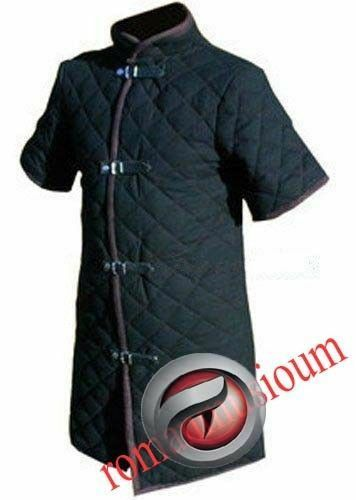 Halloween Thick Black Viking Gambeson Medieval Padded Short Sleeves Armor