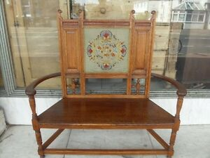 Victorian-Antique-Arts-amp-Crafts-034-Warings-034-Oak-Bench-1880-039-s