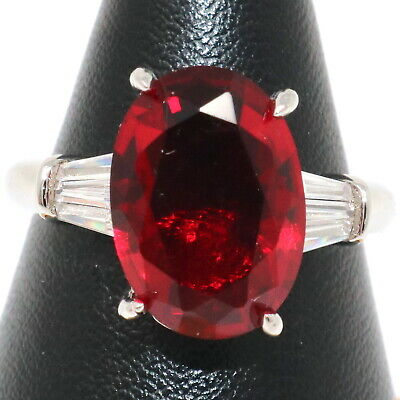 Oval Red Ruby Moissanite Ring Women Wedding Engagement Birthday Jewelry Gift