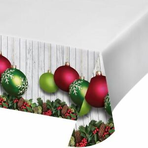 Details About Christmas Ornaments Plastic Tablecover Border Print 54 X 102 In